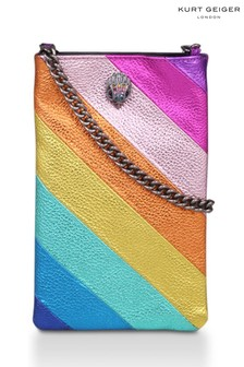 Kurt Geiger London Pink Kensington Leather Phone Crossbody Bag
