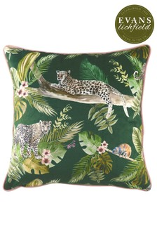 Hand Painted Jungle Leopard Cushion by Evans Lichfield