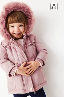 Pink Shower Resistant Faux Fur Lined Hooded Parka (3mths-7yrs)