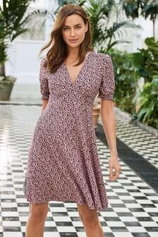 Purple Ditsy Short Sleeve Smock Dress