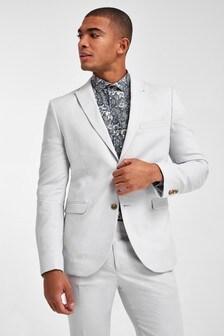 Chalk Skinny Fit Linen Blend Suit: Jacket