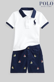 Ralph Lauren Navy Shorts And White Polo Set