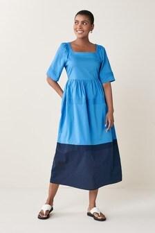 Blue Colourblock Square Neck Cotton Dress