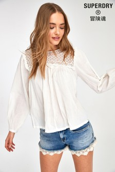 Superdry White Lace Long Sleeve Blouse
