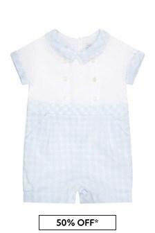 Patachou Baby Boys Blue Cotton Romper