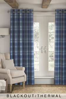 Cosy Check Eyelet Blackout/Thermal Curtains