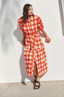 Red Check Puff Sleeve Shirt Dress