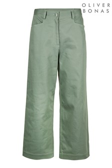 Oliver Bonas Pastel Sage Green Wide Leg Trousers