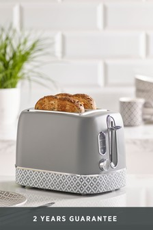 Geometric 2 Slot Grey Toaster