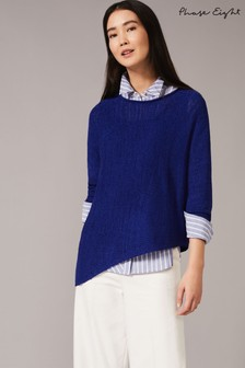 Phase Eight Blue Evangeline Asymmetric Knitted Jumper
