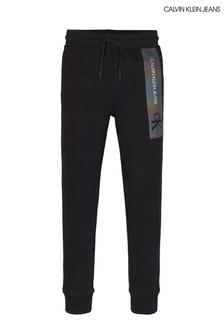 Calvin Klein Black Reflective Logo Sweat Pants