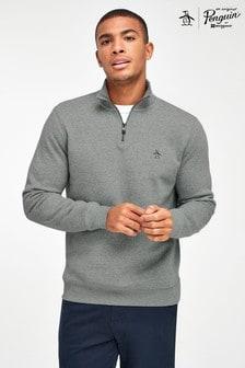 Original Penguin® Grey 1/4 Zip Logo Sweatshirt
