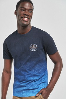 Navy Dip Dye Graphic Regular Fit T-Shirt