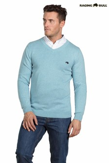 Raging Bull Sea Blue V-Neck Cotton Cashmere Sweater