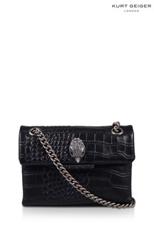 Kurt Geiger London Black Croc Leather Mini Kensington Bag