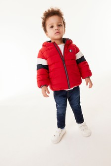 Red Colourblock Padded Jacket (3mths-7yrs)