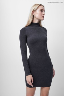 French Connection Grey Babysoft Roll Neck Above Knee Dress