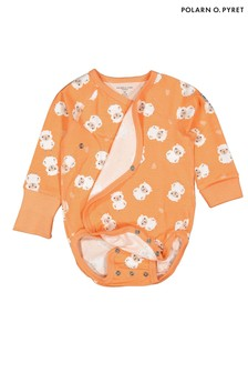 Polarn O. Pyret Orange Organic Lamb Print Bodysuit