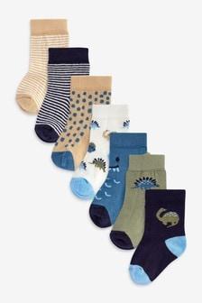 Blue Dinosaur 7 Pack Socks (Younger)