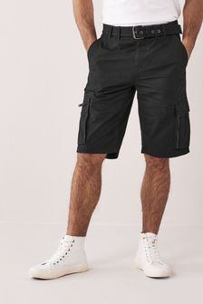 Black Belted Cargo Shorts