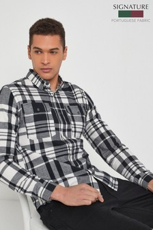 Black/White Regular Fit Brushed Flannel Check Long Sleeve Shirt