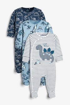 Navy 3 Pack Dinosaur Sleepsuits (0mths-2yrs)