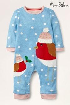 Boden Blue Christmas Robin Romper