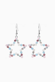 Pastel Sparkle Star Drop Earrings