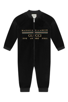 Baby Black Chenille Embroidered Logo Romper