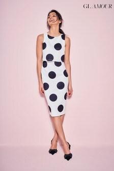 Khost Glamour Cream Spot Scuba Dress