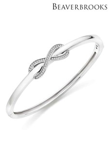 Beaverbrooks Silver Cubic Zirconia Infinity Bangle