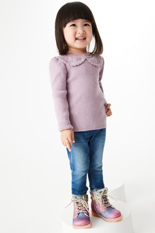 Lilac Pointelle Collar Knitted Top (3mths-7yrs)