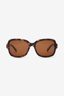 Tortoiseshell Effect Small Square Polarised Sunglasses