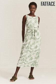FatFace Natural Laurie Jungle Palms Midi Dress