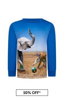 Molo Baby Boys Blue Cotton T-Shirt