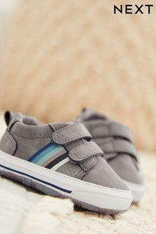 Grey Two Strap Pram Shoes (0-24mths)