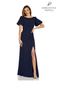 Adrianna Papell Navy Crepe Puff Sleeve Gown