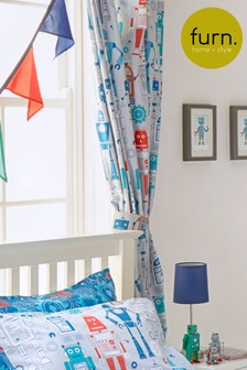 Little Furn Robot Pencil Pleat Curtains by Furn