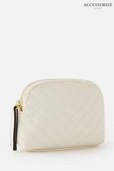 Accessorize Cream Zip Pouch Bag
