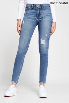 River Island Denim Medium Molly Mid Rise Track Jeans