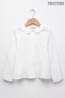 Trotters London White Petal Collar Blouse
