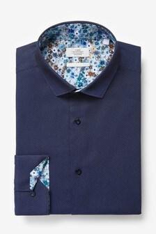 Navy Regular Fit Single Cuff Trimmed Detail Shirt