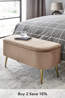 Opulent Velvet Light Natural Emily Ottoman Bench