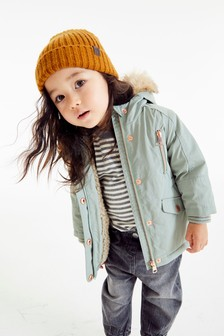 Khaki Faux Fur Trim Shower Resistant Parka (3mths-7yrs)