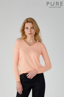Pure Collection Pink Cashmere Straight Fit V-Neck Sweater