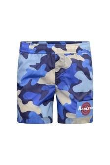 Boys Blue Camouflage Swim Shorts