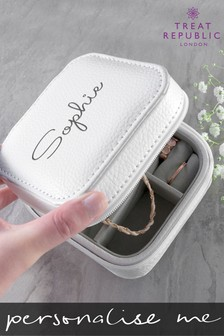 Personalised White Travel Jewellery Box by Treat Republic