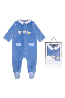 Boys Blue Cotton Velour Babygrow