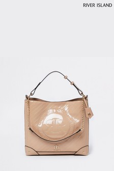 River Island Beige Patent Embossed Slouch Bag