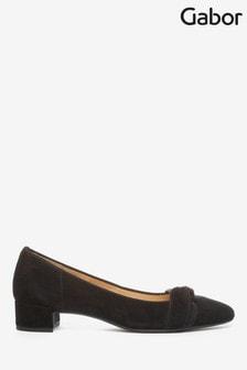 Gabor Black Prince Suede Court Shoes